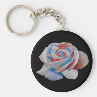 usa rose basic round button keychain