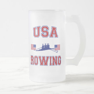 USA Rowing Frosted Glass Beer Mug