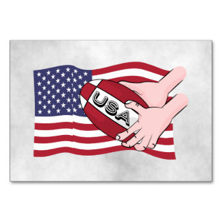 USA Rugby Team Supporters Flag With Ball Card