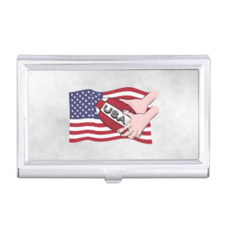 USA Rugby Team Supporters Flag With Ball Case For Business Cards