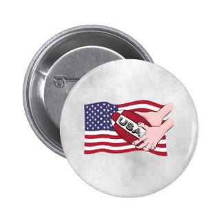 USA Rugby Team Supporters Flag With Ball Pinback Button