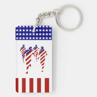 USA Running Team (Add your text) Double-Sided Rectangular Acrylic Keychain