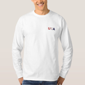 USA RWB Embroidered Classic White Basic LS T Embroidered Long Sleeve T-Shirt