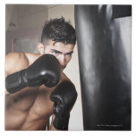 USA, Seattle, Portrait of young man boxing in Ceramic Tile