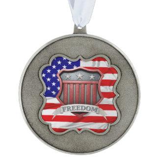 USA Shield Scalloped Ornament