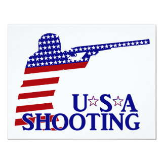 USA Shooting (Red White And Blue Rifle) 4.25x5.5 Paper Invitation Card