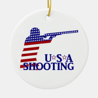 USA Shooting (Red White And Blue Rifle) Ceramic Ornament