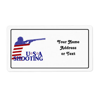 USA Shooting (Red White And Blue Rifle) Personalized Shipping Labels