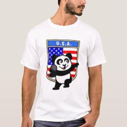 Men's Basic T-Shirt with American Shot Put Panda design