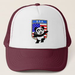 Trucker Hat with American Shot Put Panda design