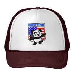 Trucker Hat with American Shot Put Panda design