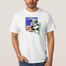 Men's Crew Value T-Shirt with American Ski-jumping Panda design