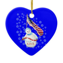USA Snowman Christmas Keepsake Heart Ornament