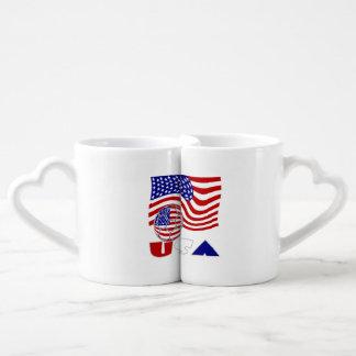 USA Soccer Ball and Flag Couples Coffee Mug