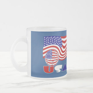 USA Soccer Ball and Flag Frosted Glass Coffee Mug
