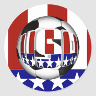 USA Soccer Ball Classic Round Sticker