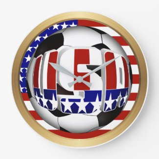 USA Soccer Ball Large Clock
