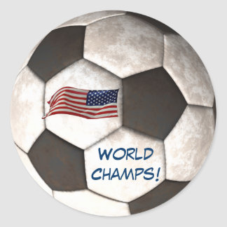 "USA Soccer Ball ""World Champs"" Football Sport Classic Round Sticker"