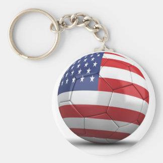 USA Soccer Basic Round Button Keychain