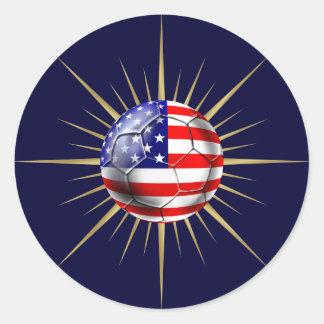 USA Soccer fanatics futbol US flag ball Classic Round Sticker