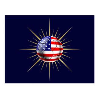 USA Soccer fanatics futbol US flag ball Postcard