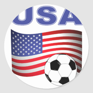 usa soccer football classic round sticker