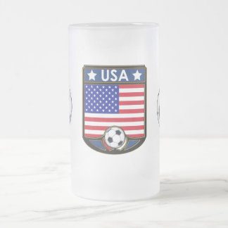 USA Soccer Frosted Beverage Stein 16 Oz Frosted Glass Beer Mug