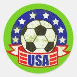 USA Soccer Futbol Classic Round Sticker