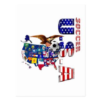 USA Soccer Map Postcard