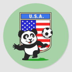 Round Sticker with USA Soccer Panda design
