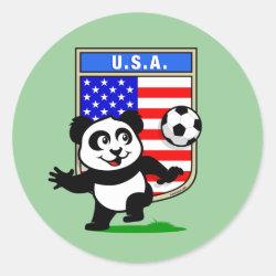 Round Sticker with USA Soccer Panda design