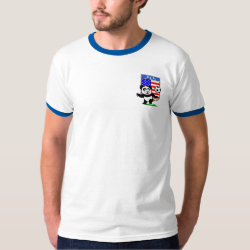 Men's Basic Ringer T-Shirt with USA Soccer Panda design