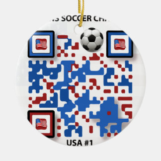 USA--Soccer-QR-Code Ceramic Ornament