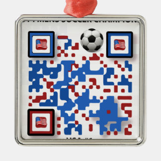 USA--Soccer-QR-Code Metal Ornament