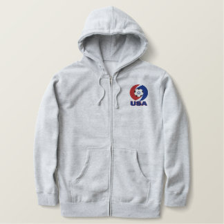 USA Soccer Swirl Design Embroidered zip hoody
