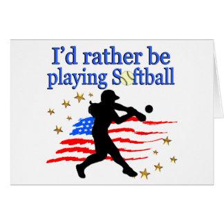 USA SOFTBALL PLAYER LOVES SOFTBALL DESIGN CARD