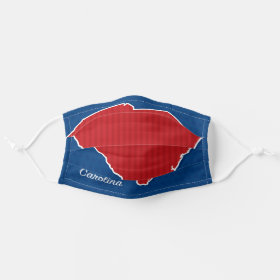 USA South Carolina State Stars and Stripes Map Cloth Face Mask