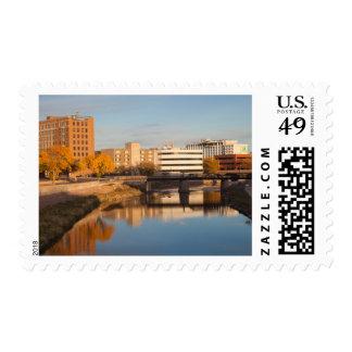 USA, South Dakota, Sioux Falls, City Skyline Postage Stamp