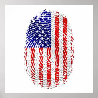 USA sports gifts USA fingerprint flag Poster