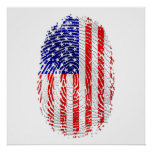 USA sports gifts USA fingerprint flag Posters