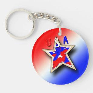 The Double Star Acrylic Keychains & Lanyards   Zazzle