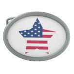 USA Star Flag Oval Belt Buckle