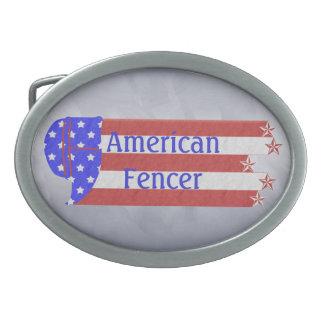 USA Star Spagled Fencer Silver Belt Buckle