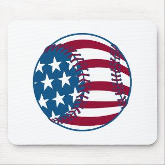 USA Stars and Stripes Baseball Mouse Mats