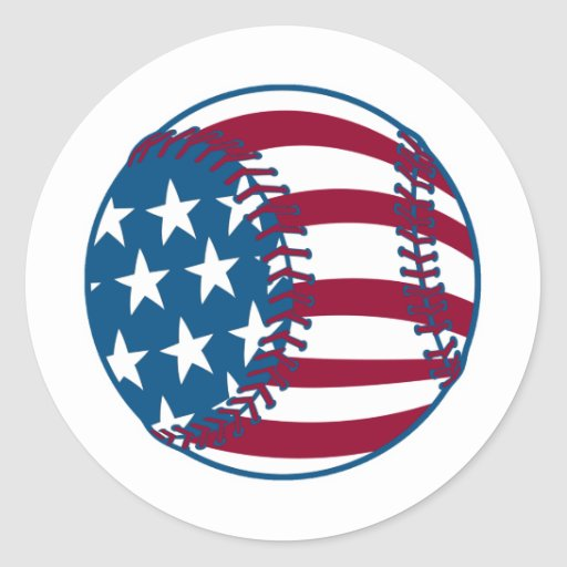 USA Stars and Stripes Baseball Classic Round Sticker