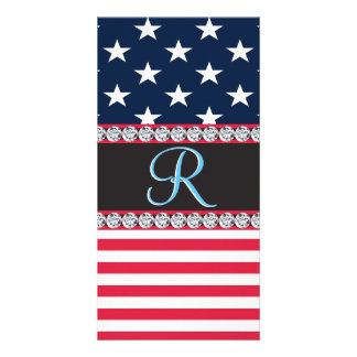 USA Stars and Stripes Diamond 3d Monogram Initial Card