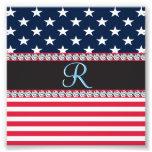USA Stars and Stripes Diamond 3d Monogram Initial Photo Print