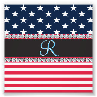 USA Stars and Stripes Diamond 3d Monogram Initial Photo Print