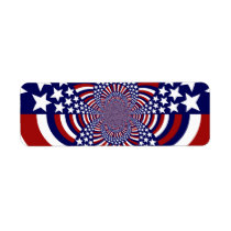 USA Stars and Stripes Patriotic Design Label