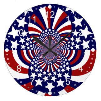 USA Stars and Stripes Patriotic Design Large Clock